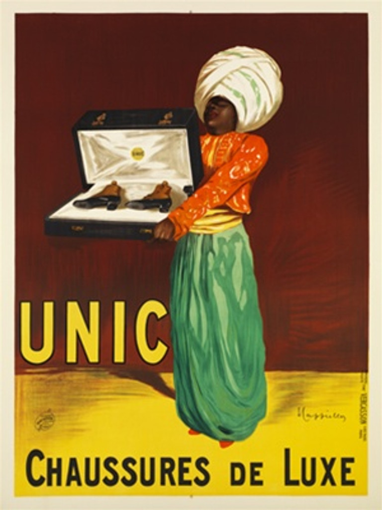 Unic Chaussures De Luxe by Cappiello 1913 France - Beautiful Vintage Posters Reproductions. This vertical French product poster features a man in a turban holding a box of shoes in a cushion. Vintage Poster Reproduction