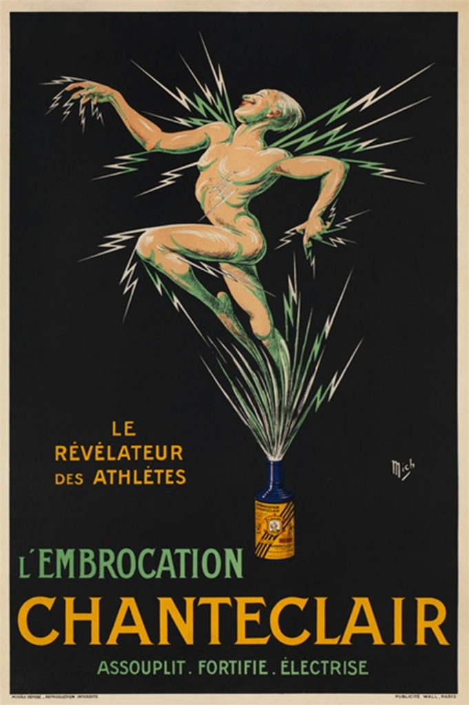 Chanteclair by Mich 1917 France - Beautiful Vintage Poster Reproduction. This French poster features an athletic naked man and electric bolts exploding out of a blue bottle on a black background. Giclee Advertising Print. Classic Posters