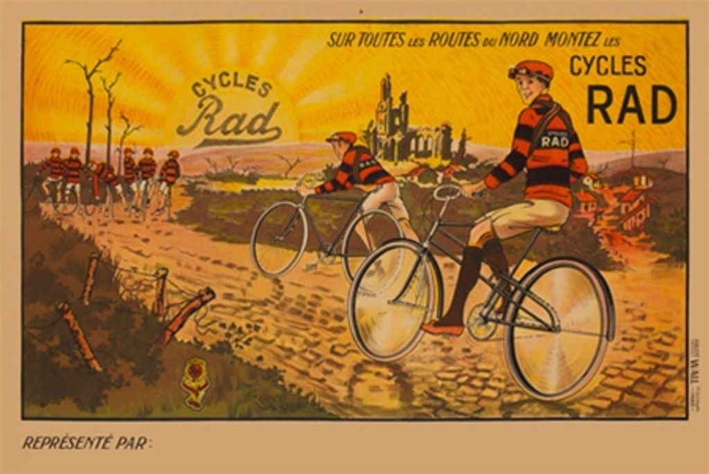 Cycles Rad poster by Imp. Wall French - Beautiful Vintage Poster Reproductions. This poster features bicyclist in red and black strip shirts on a dirt rural path at sunrise. Giclee Advertising Print. Classic cycles Posters