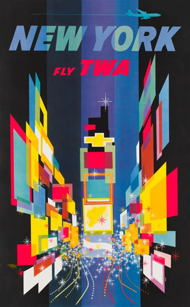 New York Fly TWA poster by David Klein - Vintage Postesr Reproductions. This vertical American travel poster features colorful shapes in a geometric design with stars and an airplane flying across the top. Giclee Advertising Prints