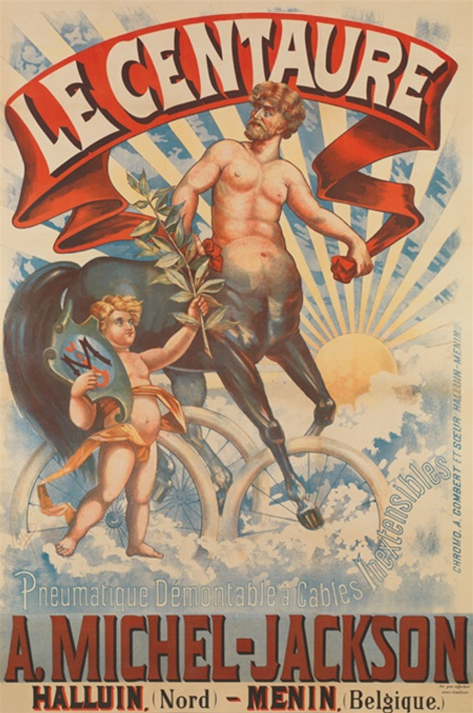 Le Centaure by Schmidt 1899 Belgium - Beautiful Vintage Poster Reproductions. This Belgium transportation poster features a half man half horse on tires and a boy holding up a branch in the sky. Giclee Advertising Print. Classic cycles Posters