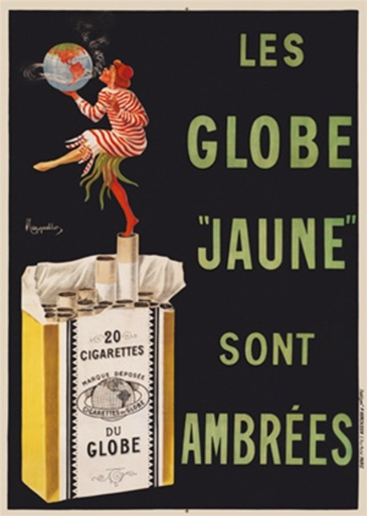 Les Globe Jaune Sont Ambrees by Cappiello France 1910 - Beautiful Vintage Posters Reproduction. This vertical French poster features a woman standing on a pack of cigarettes with one foot in the air blowing smoke around a globe. Giclee Advertising Prints.