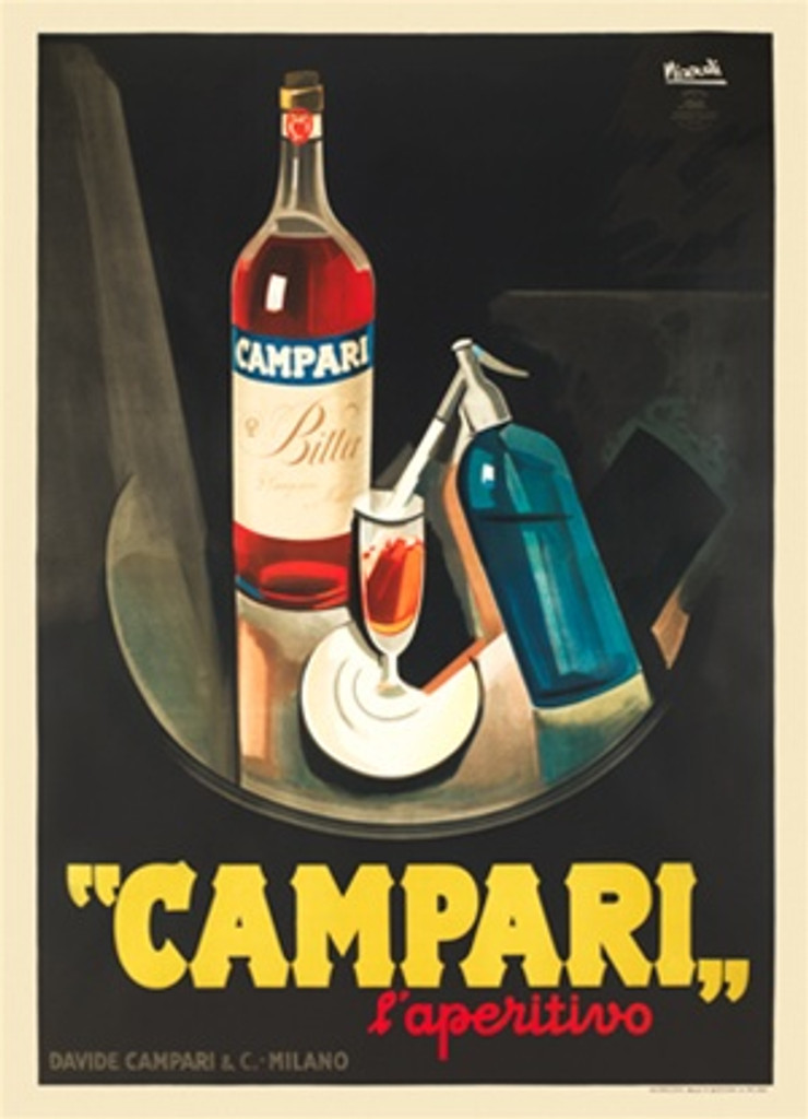 Campari laperitivo by Marcello Nizzoli Italy 1926 - Beautiful Vintage Posters Reproduction. This vertical Italian poster features a wine glass being filled by a soda bottle on a table with a bottle of alcohol. Giclee Advertising Print. Classic Posters