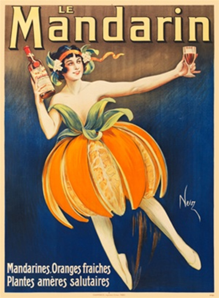 Le Mandarin by Niez France 1904 - Beautiful Vintage Posters Reproduction. This poster features a woman in a skirt made of orange slices and peel holding a bottle and stem glass ballet dancing. Giclee Advertising Prints. Classic Posters