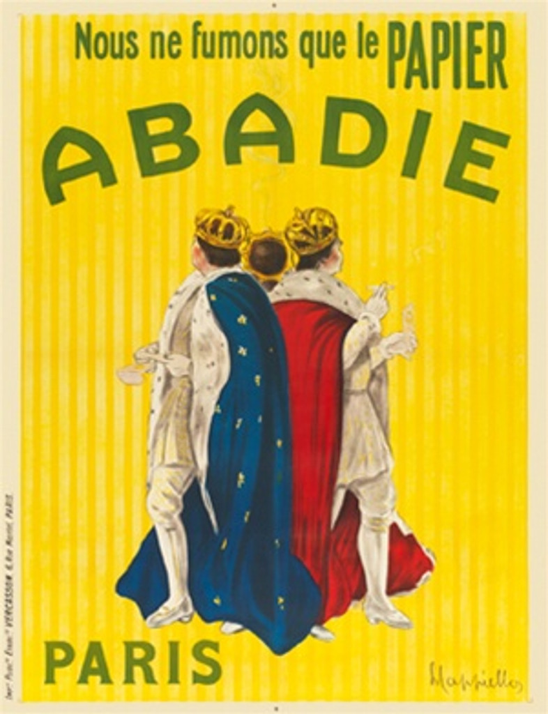 Abadie by Cappiello French 1911 - Beautiful Vintage Posters Reproduction. This vertical French poster features 3 monarchs in robe and crowns rolling and smoking cigarettes against a yellow strip background. Giclee Advertising Print. Classic Posters