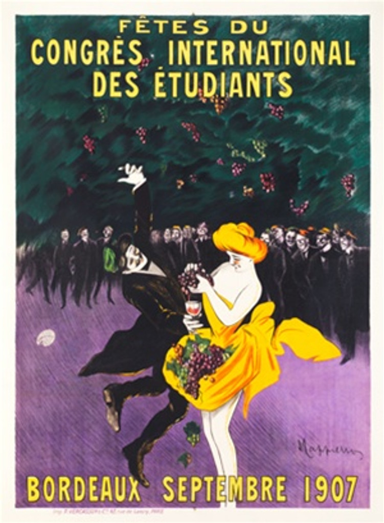 Congres International Des Etudiants by Cappiello French 1907 - Beautiful Vintage Posters Reproduction.This poster features a red headed woman in an orange dress making wine from grapes for a dancing man in a suit with a crowd behind them. Giclee