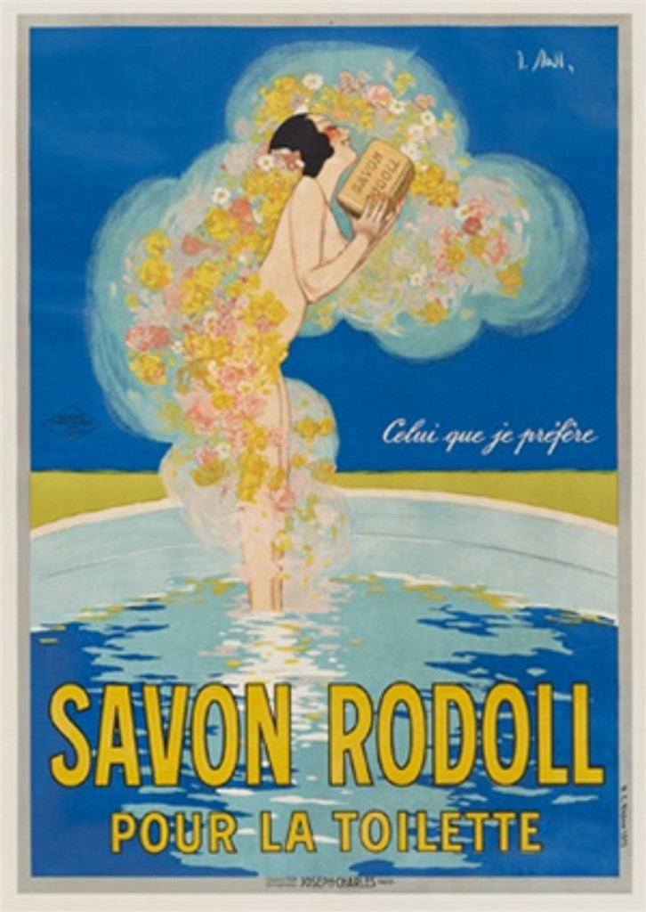 Savon Rodoll by J. Stall France 1924 - Beautiful Vintage Posters Reproductions. This poster features a woman standing in a bath surrounded by flower cloud holding a bar of soap against a blue background. Giclee Advertising Print. Classic Posters