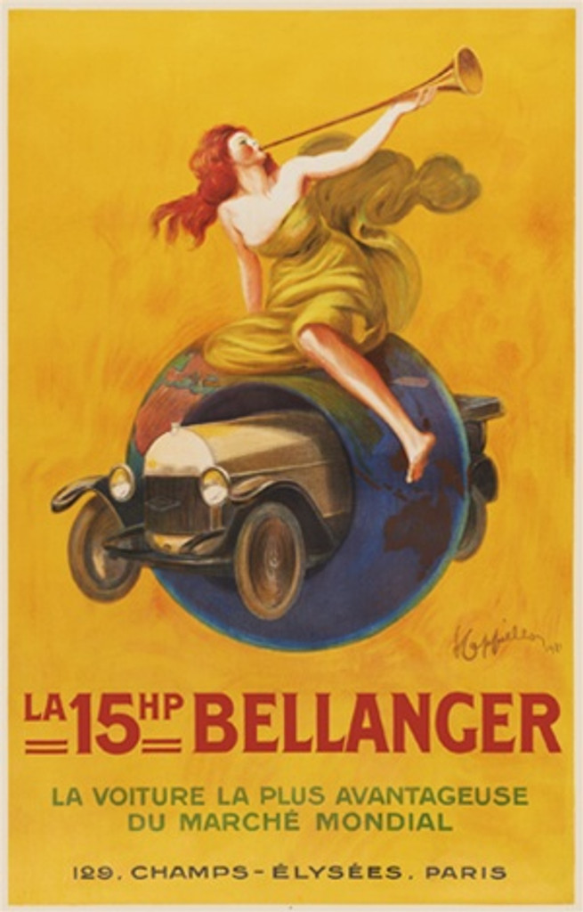 Bellanger by Cappiello 1921 French - Beautiful Vintage Poster Reproduction. This poster feature a red headed woman playing a trumpet on a globe with a car driving through the center against a yellow background. Giclee Advertising Print. Classic Posters