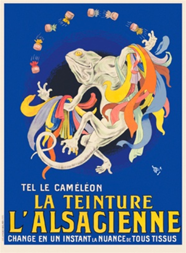 La Teinture L'Alsacienne poster by Mich (Michael Liebeaux) French - Beautiful Vintage Poster Reproduction. This vertical French poster features a lizard wrapped in colorful fabric throwing dye on a royal background. Giclee Advertising Print. Classic Posters