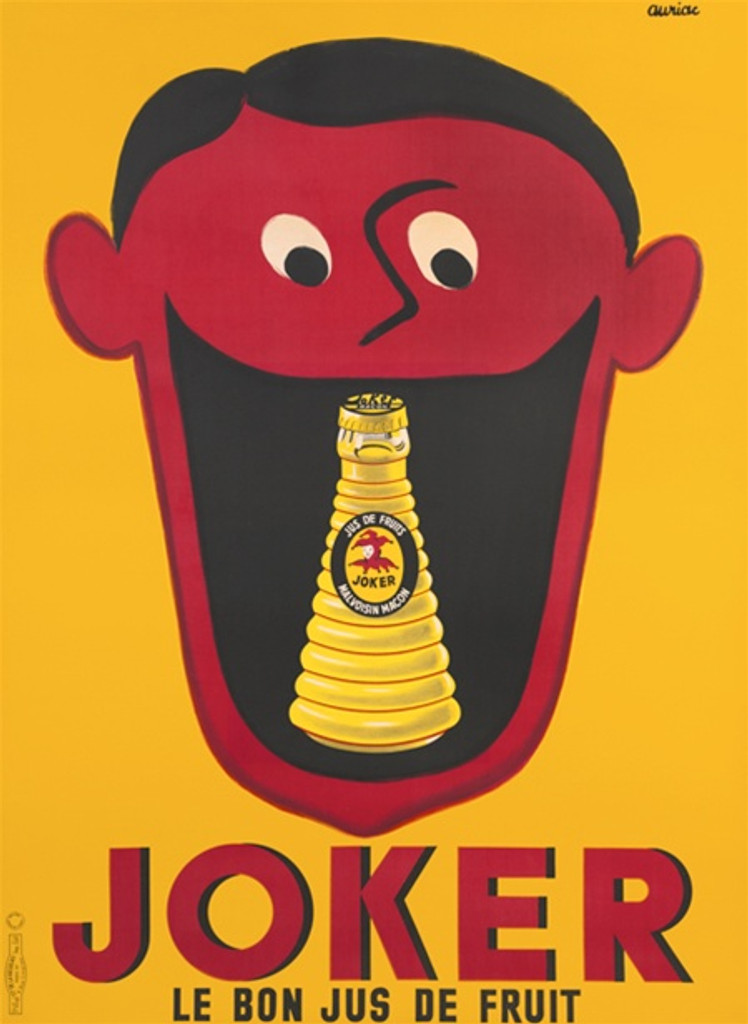 Joker Le Bon Jus De Fruit - Beautiful Vintage Poster Reproductions. This French food poster features a red face on a yellow background with a fruit juice battle in his mouth.. Giclee Advertising Print. Classic food Posters.