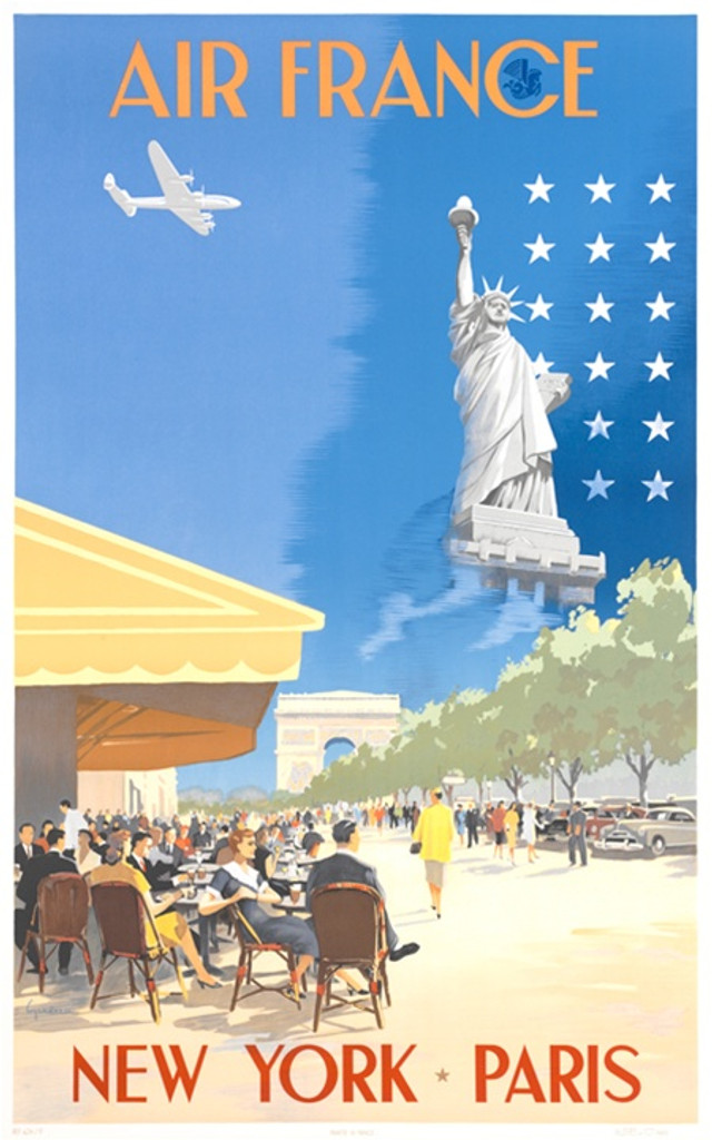 Air France Paris New York poster from 1951- Vintage Posters Reproductions. French travel poster features New York city outdoor restaurants with people siting and walking looking at statue liberty and a plane flying above. Giclee Advertising Prints.