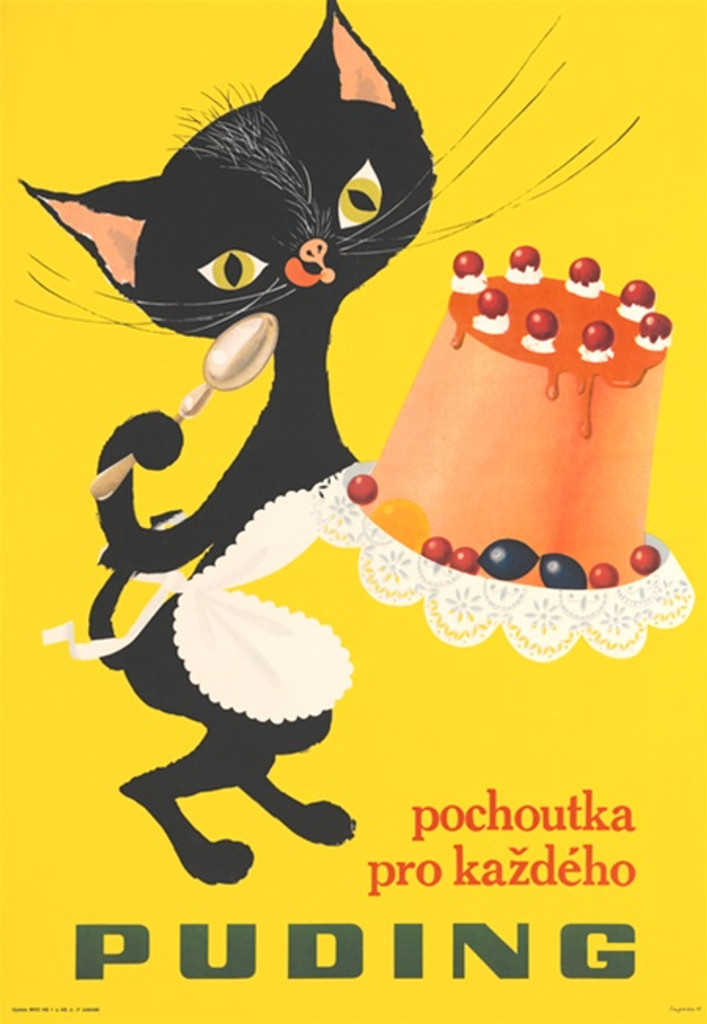 Puding Pochoutka Pro Kazdeho Czech poster - Beautiful Vintage Poster Reproduction. This vertical poster features a black cat on a yellow background eating pudding cake with a spoon. Giclee advertising prints.
