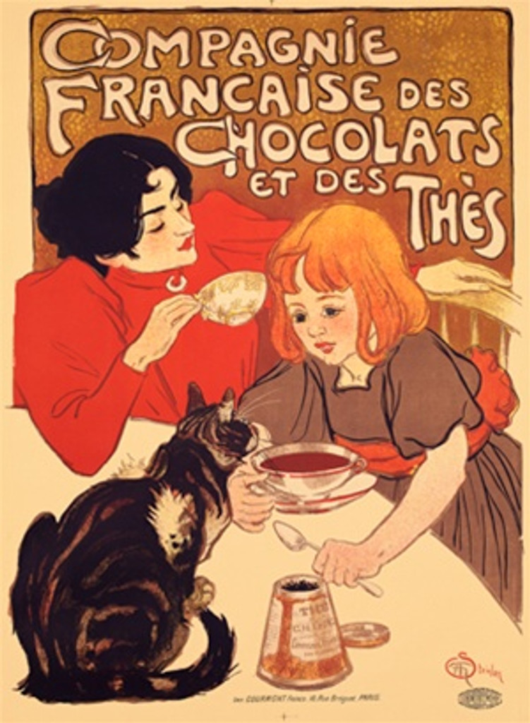Compagnie Francaise de Chocolats poster by Theophile-Alexandre Steinlen 1895 French - Beautiful Vintage Posters Reproduction Print.