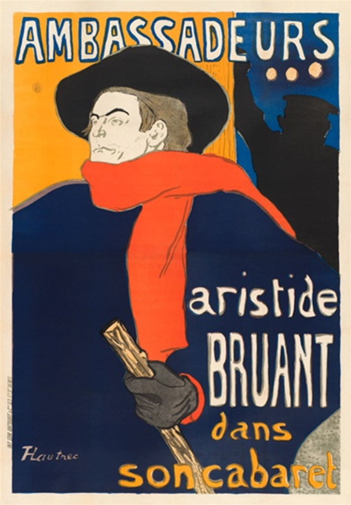 Ambassadeurs poster by Toulouse Lautrec from 1892 France.