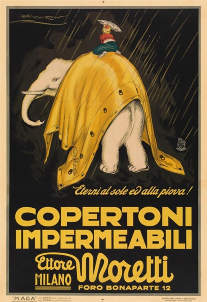Copertoni Impermeabili Moretti (white elephant) vintage poster reproduction artist Mauzan. Raincoat company the brand that's eternal come rain or shine. - Beautiful Vintage Posters Reproductions Prints