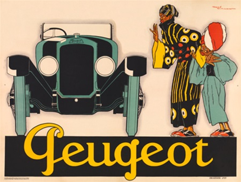 Peugeot car poster by Rene Vincent automotive ad - Beautiful Vintage Posters Reproductions. French car poster features woman and a child looking at a large green car. Giclee Advertising Print. Classic posters prints.