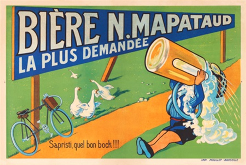 Biere N. Mapataud - Beautiful Vintage Posters Reproductions. French poster advertising beer, features man sitting on a grass drinking from a large mug and bicycle leaning on a Biere N. Mapataud sign. Giclee vintage prints, posters.
