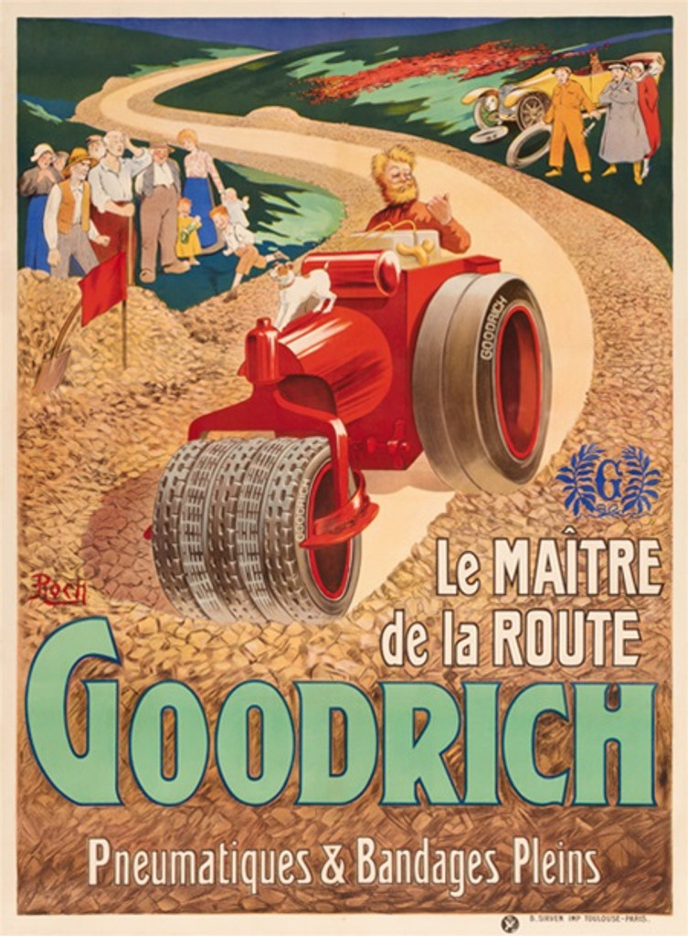 Goodrich tire poster by Roch - Beautiful Vintage Posters Reproductions. French poster features old vintage car and people looking at man and dog driving static roller making new road. Giclee advertising print. Classic posters.