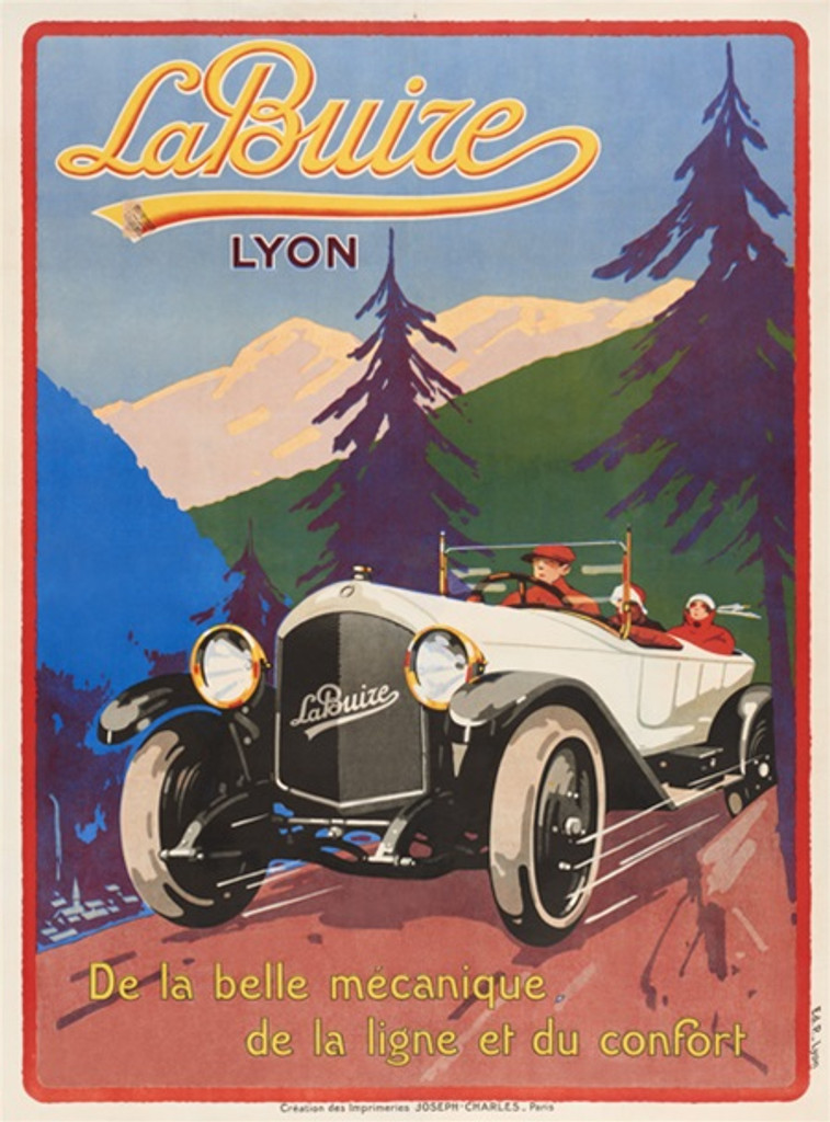 La Buize Lyon car poster print - Posters Reproductions. Transportation poster features 3 people driving a white old vintage car / auto through mountains. Giclee Advertising Print. Classic Posters