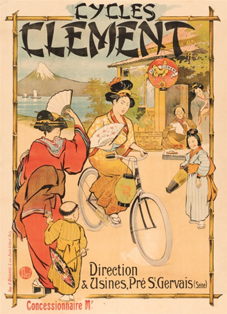 Cycles Clement Japanese Girls - Vintage Posters Reproductions. French cycles bicycles poster features a Japanese woman riding a bicycle. Giclee vintage prints. Classic Posters