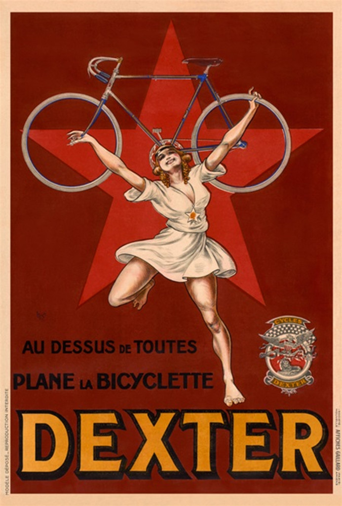 Dexter Cycles Bicyclette poster by Mich (Michael Liebeaux) - Vintage Poster Reproduction. French cycles bicycles poster features a woman holding up a bicycle. Giclee vintage prints. Classic Cycling Posters