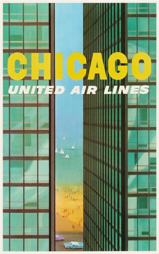 S. Galli poster Chicago United Airlines 1955 America - Beautiful Vintage Poster Reproductions. American travel poster features 2 Chicago tall buildings and a view of beach, street with cars and lake. Giclee Advertising Prints. Classic Poster