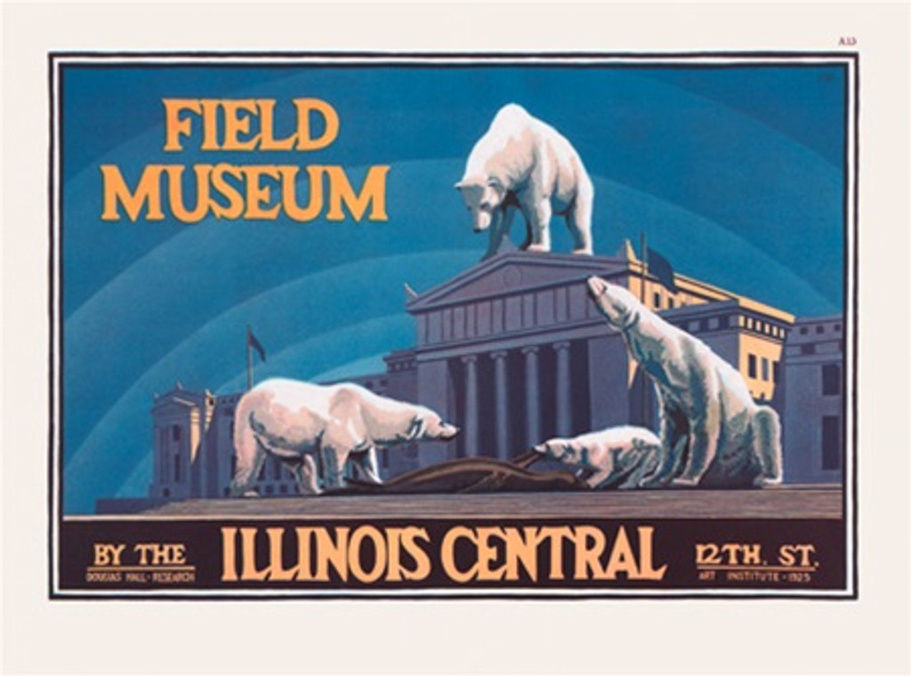 Chicago Field Museum Illinois Central poster - Vintage Poster Reproductions. American horizontal poster features white polar bears on a blue background in front of museum. Giclee Advertising Print. Classic Posters. Art Institute.