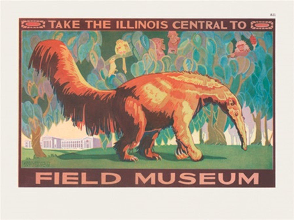 Chicago Field Museum Illinois Central poster - Vintage Poster Reproductions. American horizontal poster features Chicago Field museum in a background and animals hiding in trees from large anteater. Giclee Advertising Print. Classic Posters. Art Institute