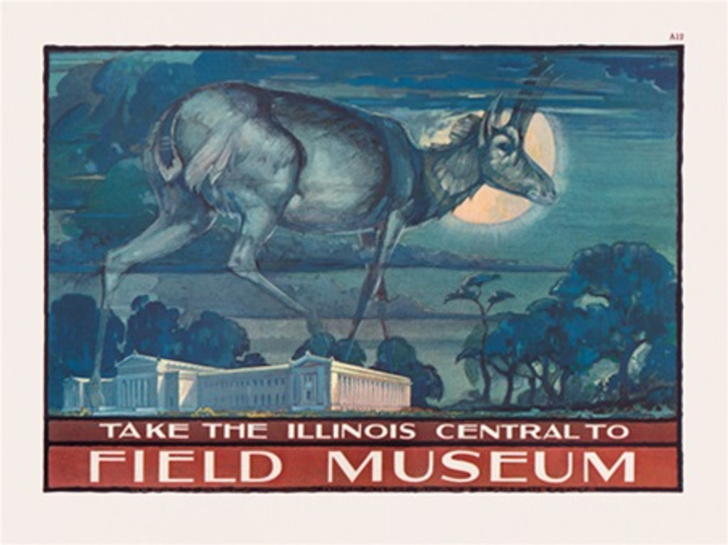 Chicago Field Museum Illinois Central poster - Vintage Poster Reproductions. American horizontal poster features large deer walking on top of the museum at moon light... Giclee Advertising Print. Classic Posters. Art Institute prints