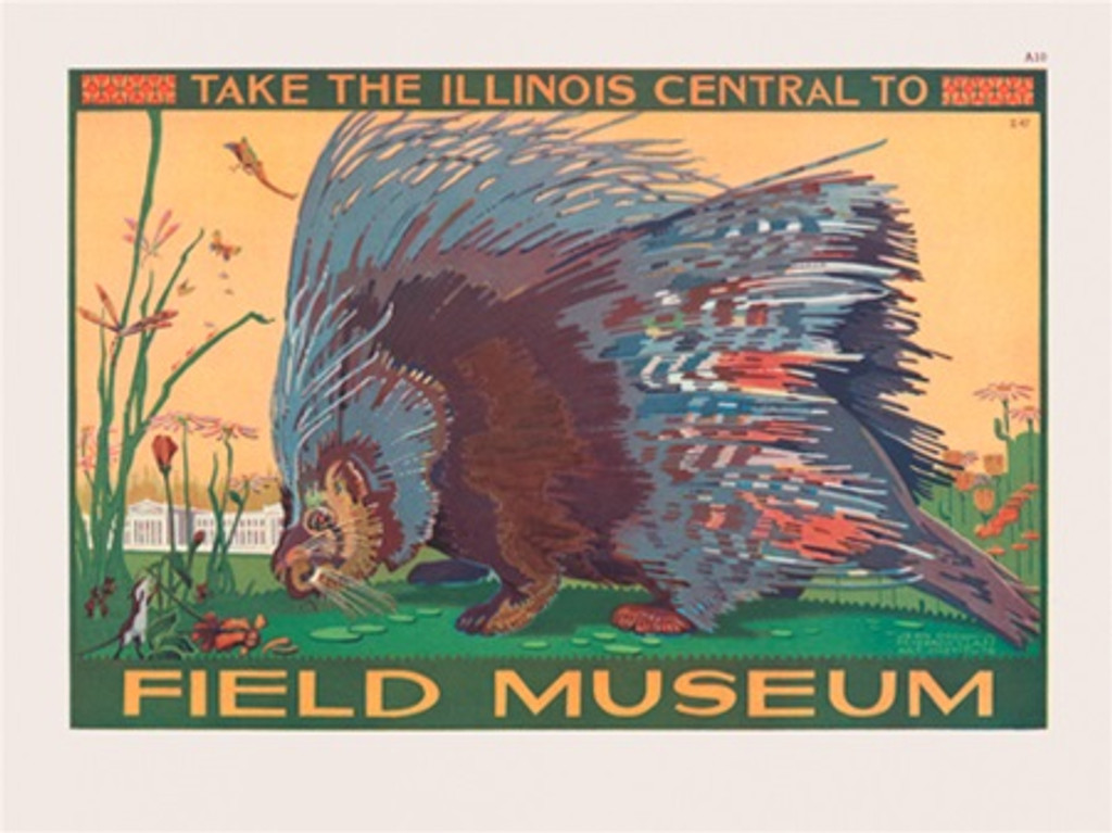 Chicago Field Museum Illinois Central poster - Vintage Poster Reproductions. American horizontal poster features large animal surrounded by flowers .. Giclee Advertising Print. Classic Posters. Art Institute prints
