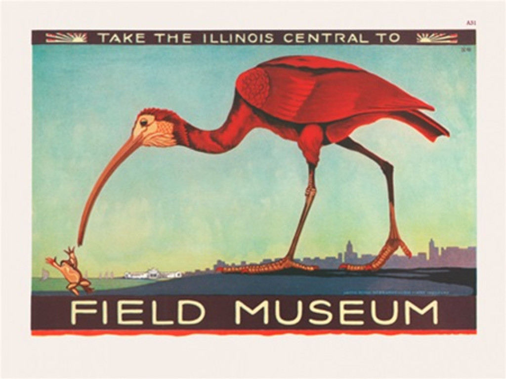 Chicago Field Museum Illinois Central poster - Vintage Poster Reproductions. American horizontal poster features large bird on a background of city view... Giclee Advertising Print. Classic Posters. Art Institute prints