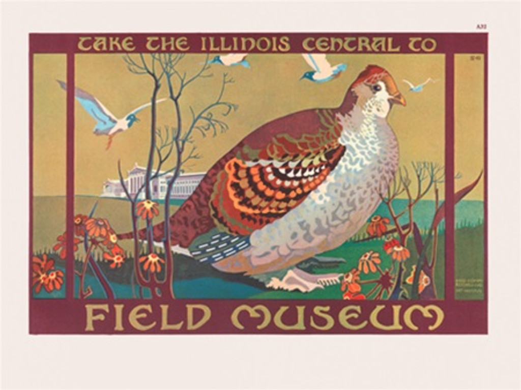 Chicago Field Museum Illinois Central poster - Vintage Poster Reproductions. American horizontal poster features large bird standing by flowers ... Giclee Advertising Print. Classic Posters. Art Institute prints posters.