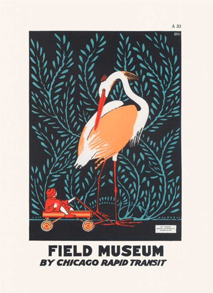 Field Museum By Chicago Rapid Transit from 1925 - Vintage Poster Reproductions. American poster features large bird standing and looking at a child. Giclee Advertising Prints. Classic Posters. Art Institute prints posters.