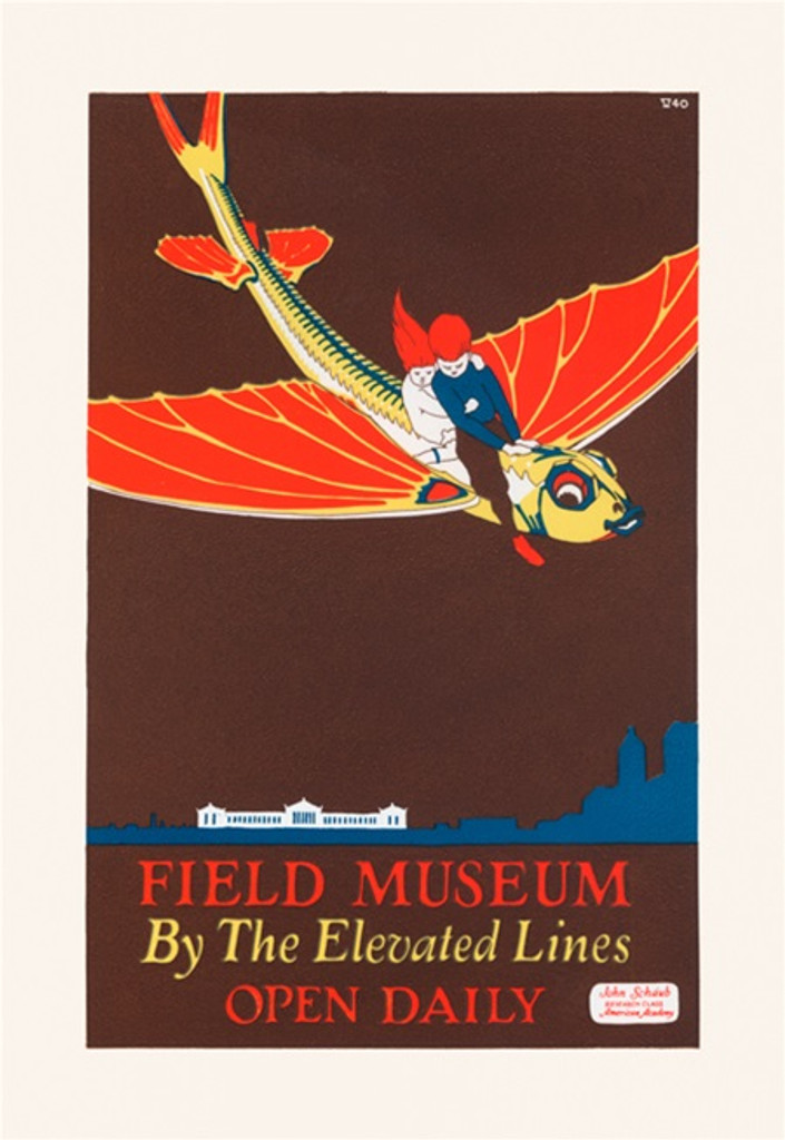 Field Museum By The Elevated Lines Open Daily poster from 1925 - Vintage Poster Reproductions. American poster features kids flying on a large dragon fish. Giclee Advertising Prints. Classic Posters. Art Institute prints posters