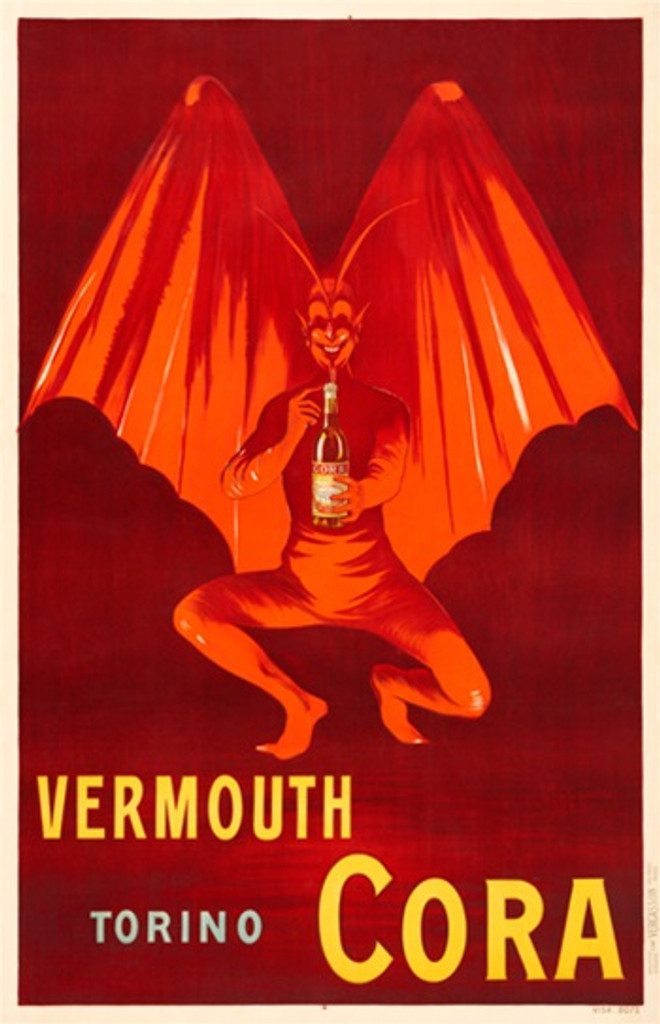 Vermouth Cora poster by Cappiello - Beautiful Vintage Posters Reproductions. French poster advertising red devil with wings holding a bottle of liqueur. Giclee advertising prints. Classic Posters