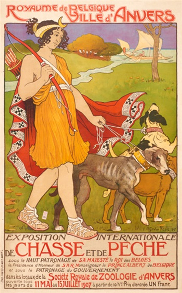 Exposition Internationale De Chasse Et De Peche poster from 1907 by Van Neste - Posters Reproductions - French poster from 1907 advertising exhibition on hunting, shows woman walking with three dogs. Giclee advertising prints. Classic Poster