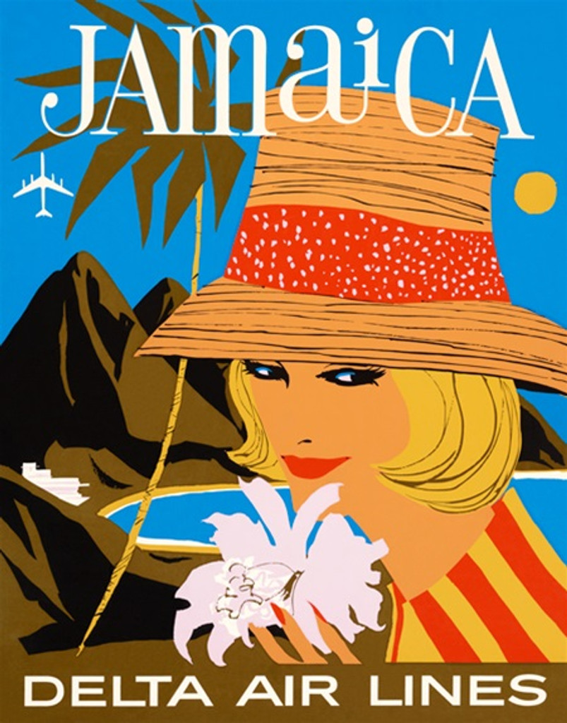 Delta Airlines Jamaica 1960s poster - Beautiful Vintage Posters Reproductions. American travel poster features afeatures woman wearing a hat and holding a flower on a background of mountains and ocean.. Giclee Advertising Prints. Classic Posters