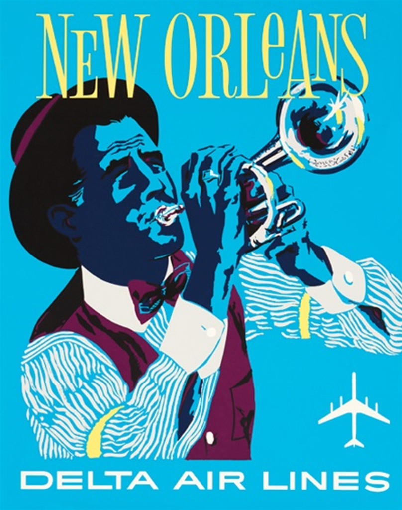 Delta Airlines New Orleans American poster from 1962 by John Hardy. Travel destination advertisement features man playing trumpet on a blue background. Vintage Posters Reproductions.