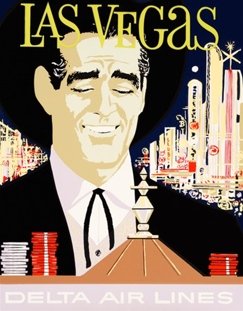 Delta Airlines to Las Vegas American poster. Travel destination advertisement features man looking at roulette game on a background off night city view.