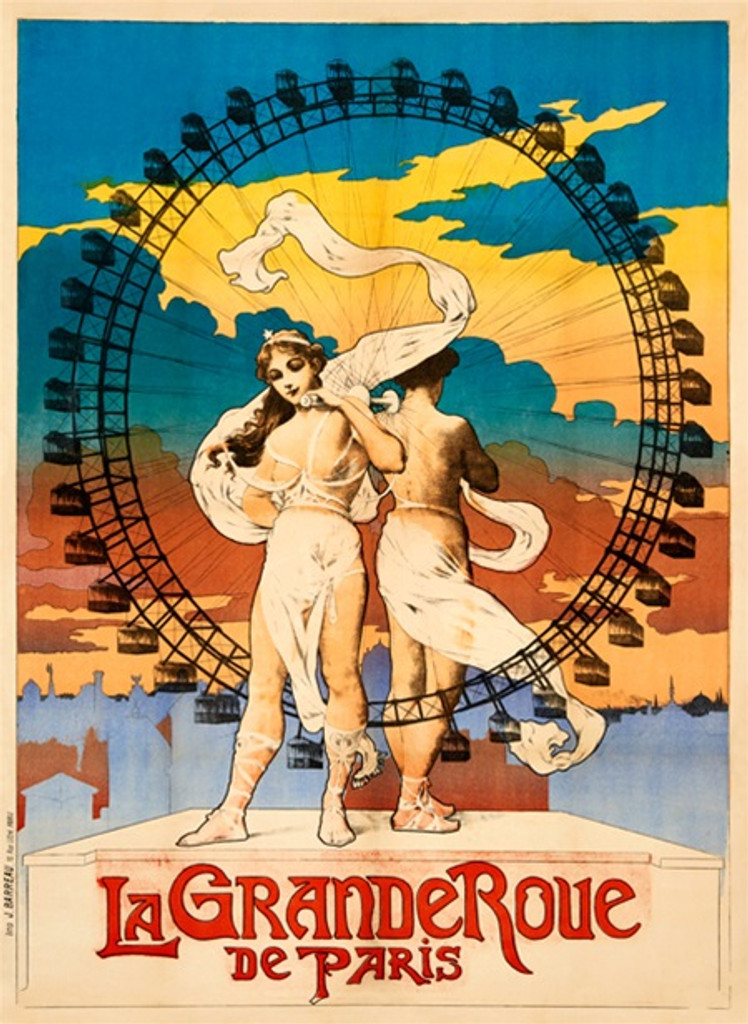 La Grande Roue De Paris poster print - Vintage Posters Reproductions. French turn of the century ad with couple standing and between them is large ferry wheel. Giclee Advertising Prints. Classic Posters