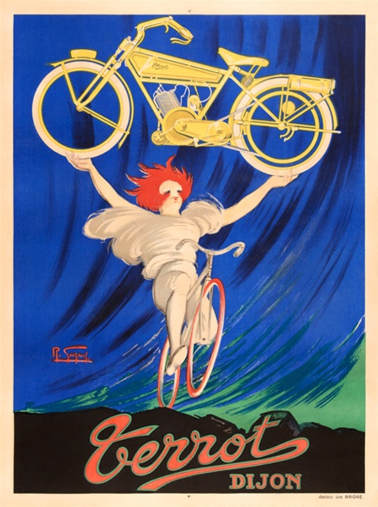 Terrot Dijon poster by Robert Gazay France - Beautiful Vintage Poster Reproductions. French transportation poster features a woman on a bicycle with red hair holding up a yellow motorcycle. Giclee Advertising Print. Classic Posters