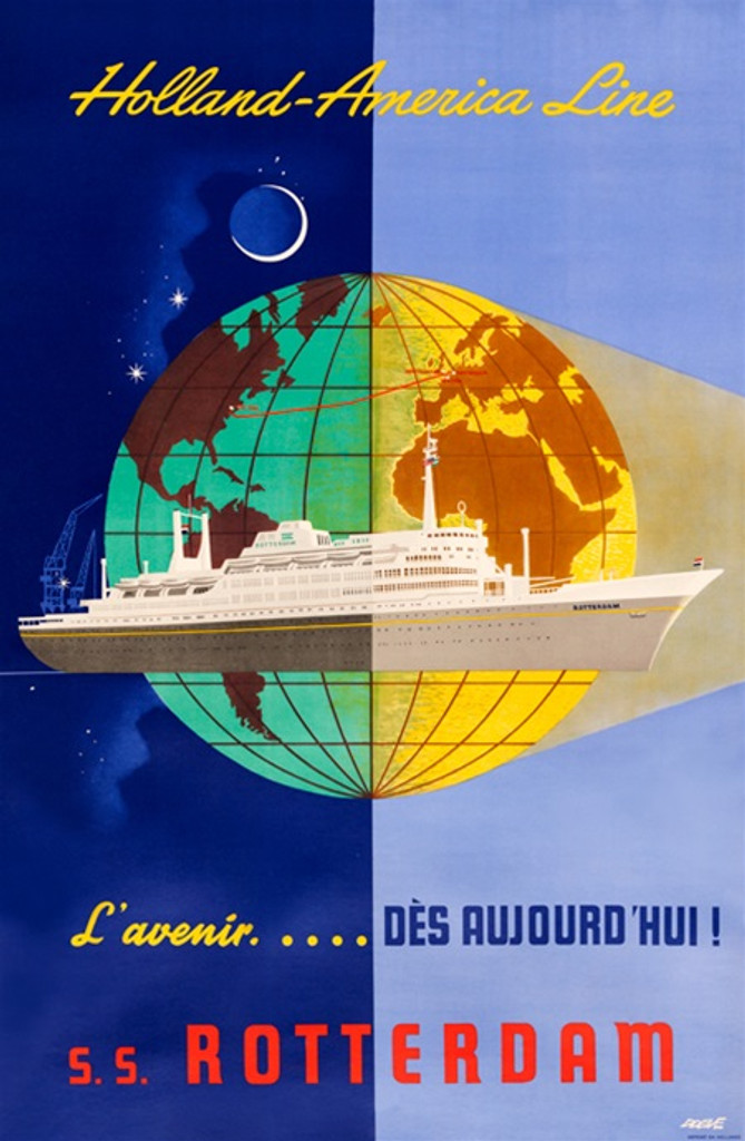 Holland America Line S.S. Rotterdam poster from 1955. - Vintage Posters Reproductions. Holland boat lines poster features a large ship on a background of world globe. Giclee Travel Advertising Prints Ads.
