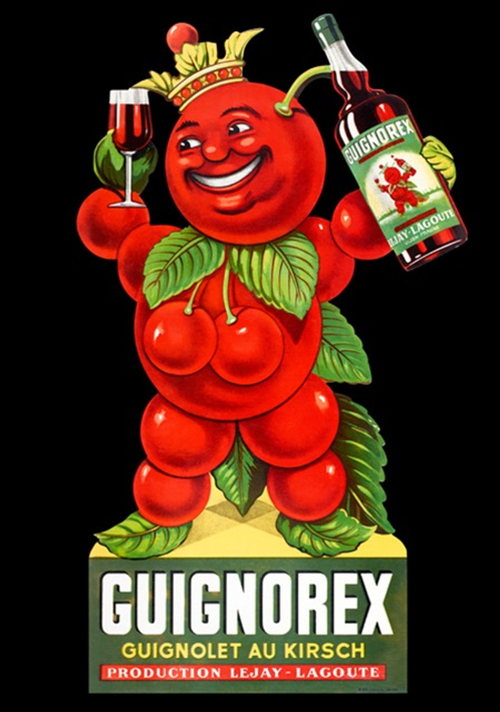 Guignorex poster print from 1954 - Vintage Posters Reproductions. This vertical French cherry wine poster features cherry man holding up bottle and a glass on a black background. Giclee Advertising Prints Posters