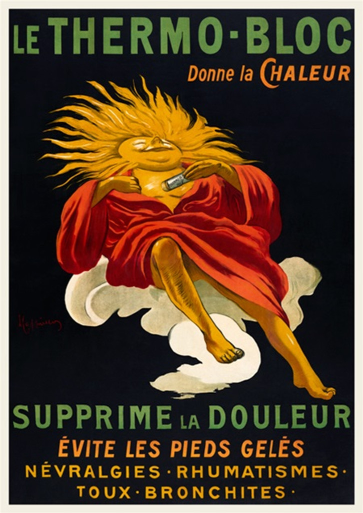 Le Thermo Bloc poster print by Leonetto Cappiello - Vintage Posters Reproductions. French medical advertisement features a man with sunny smiling face on a black background. Giclee Advertising Prints are great for decorating your home or office.