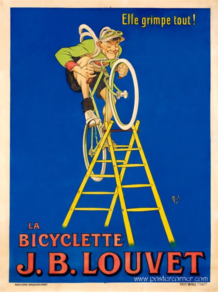 J.B Louvet Bicyclette poster by  Mich (Michael Liebeaux) - Vintage Poster Reproduction. French transportation poster features a cyclist in a green jersey riding a bicycle up a latter against a blue background. Giclee Advertising Print. Classic Cycling Posters