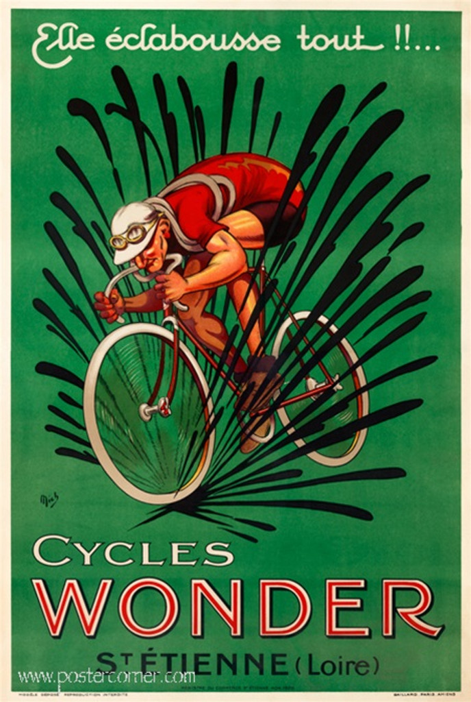 Mich Cycles Bicycles Wonder poster ad - Vintage Posters Reproductions. French poster features a man in red jersey rigging a bicycle. Giclee Advertising Prints are great for decorating home or office.