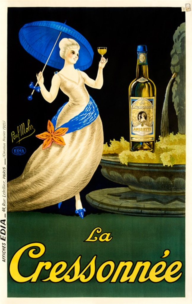 Paul Mohr poster from 1923 La Cressonnee. Beautiful woman on a black and green background standing next to large bottle of absinthe. Vintage Posters Reproductions are great decorating idea for your home or office.