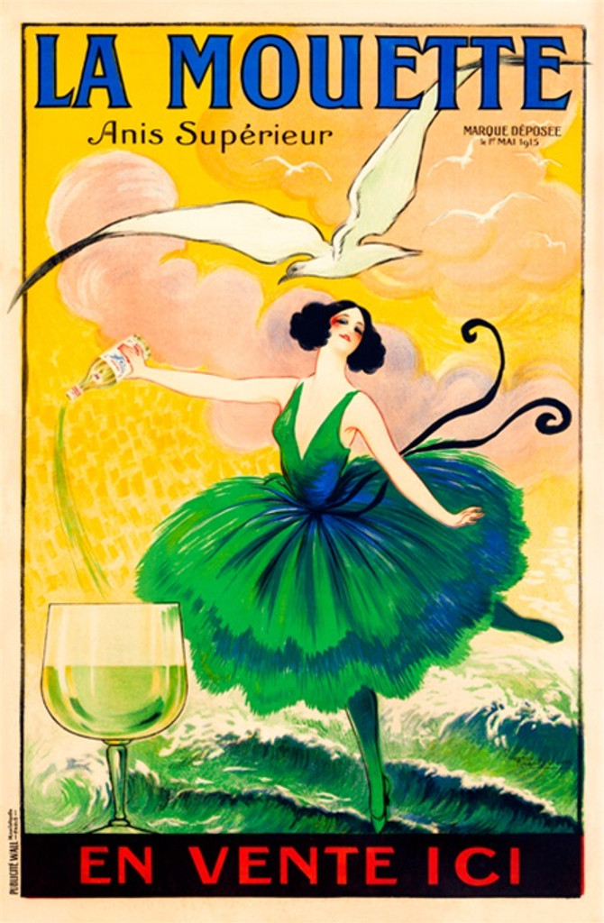 La Mouette Anis poster by Vion - Vintage Posters Reproductions. French wine and spirit poster features a woman in green dress pouring a drink, with white bird flying above. Giclee Advertising Prints Posters