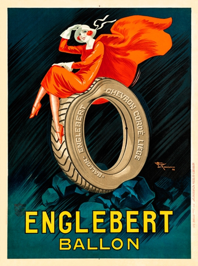 Englebert Ballon poster by Henry Le Monnier - Vintage Posters Reproductions. French transportation poster features a woman in a red dress with white hat and gloves sitting on a large tire. Giclee Advertising Prints.