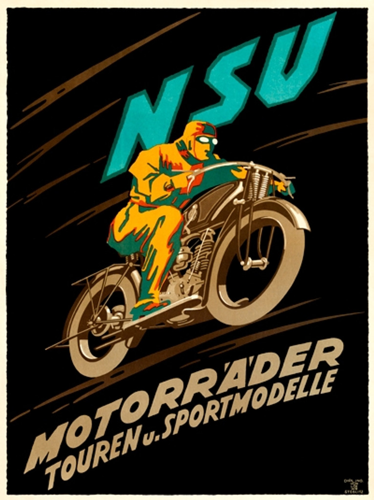 NSU Motorrader poster from 1922 Germany - Vintage Posters Reproductions. German transportation poster features a man dressed in a yellow riding a motorcycle. Giclee Advertising Prints.